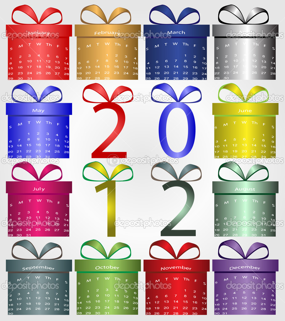 Color Boxes with Calendar for 2012 — Stock Vector #6275978