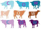 Cow silhouette collection - vector — Stock Vector