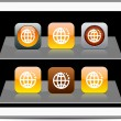 Planet orange app icons. — Stock Vector