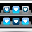 Royalty-Free Stock Vector Image: Heart blue app icons.