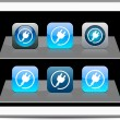Royalty-Free Stock Imagem Vetorial: Power plug blue app icons.
