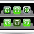 Headphones green app icons. — Stock Vector