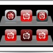 TV red app icons. — Stock Vector