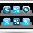 Percent blue app icons. — Stock Vector