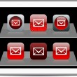 E-mail red app icons. — Stock Vector