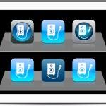 Karaoke blue app icons. — Stock Vector #6118567