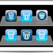 Dustbin blue app icons. - Stock Vector