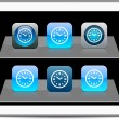 Time blue app icons. — Stock Vector