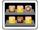 Orange Shopping cart app icons. — Stock Vector