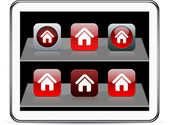 Home red app icons. — Stock Vector
