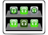 Headphones green app icons. — Stock Vector