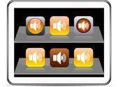 Sound orange app icons. — Stock Vector