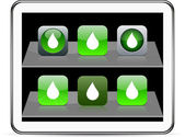 Drop green app icons. — Stock Vector