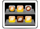 Chat orange app icons. — Stock Vector