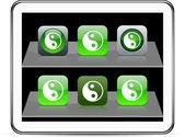Ying yang green app icons. — Stock Vector