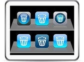 Dustbin blue app icons. — Stock Vector