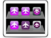 Aircraft purple app icons. — Stock Vector