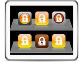 Lock orange app icons. — Stock Vector