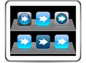 Forward arrow blue app icons. — Stock Vector