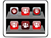 Forum red app icons. — Stock Vector