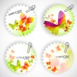 Round sticker with butterflies. Vector illustration set — Stock Vector
