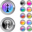 Hookah multicolor round button. — Vettoriale Stock