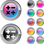 multicolor Runde Schaltfläche Berechnen — Stockvektor