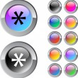 Stock Vector: Asterisk multicolor round button.