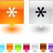 Stock Vector: Asterisk square button.