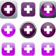 Stock Vector: Plus purple app icons.