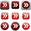 Stock Vector: Forward arrow red app icons.