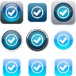 Stock Vector: Mark blue app icons.