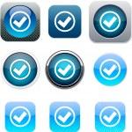 Mark blue app icons. — Stock Vector