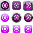 Delete cross purple app icons. — Stock Vector #6128897
