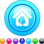 Green home circle button. — Stock Vector #6128927