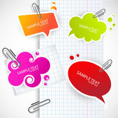 Colorful paper bubble for speech — Vettoriale Stock