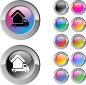 Camper multicolor round button. — Stock Vector