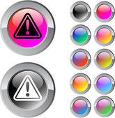 Signe d'exclamation multicolore rond bouton. — Vecteur