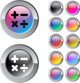 Calculate multicolor round button. — Stock Vector