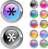 Asterisk multicolor round button. — Stock Vector