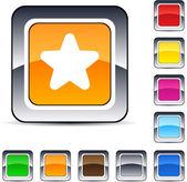 Botão quadrado estrela. — Vetorial Stock