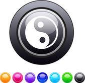 Ying yang circle button. — Stock Vector