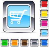 Shopping cart square button. — Vector de stock