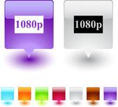 1080p square button. — Stock Vector