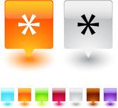 Asterisk square button. — Stock Vector