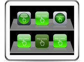 Www 单击绿色的应用程序图标. — 图库矢量图片