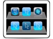 Pixel arrow blue app icons. — Stock Vector
