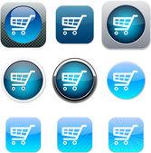 Shopping cart blue app icons. — Stock Vector