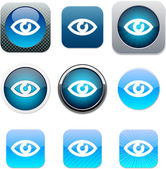 Eye blue app icons. — Stock Vector