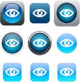 Eye blue app icons. — Stock Vector
